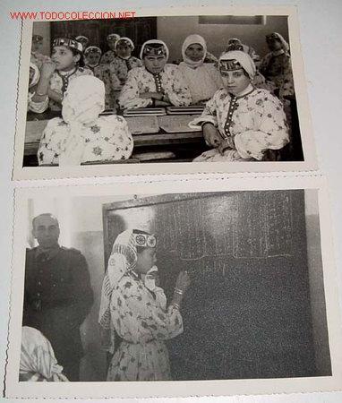 Postales: LOTE DE 6 ANTIGUAS FOTOGRAFIAS NIÑOS HUERFANOS EN LA ESCULA DEL ORFANATO FRANCO EN MELUSA - MELLOUSS - Foto 2 - 27616764