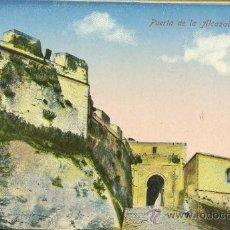 Postales: TARJETA POSTAL PUERTA DE LA ALCAZABA Y BATERIA. Lote 9970635
