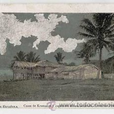 Postales: POSTAL: GUINEA ESPAÑOLA. CASAS DE KRUMANES Y CAPATACES EN UNA HACIENDA, FERNANDO POO. SIN CIRCULAR. Lote 11944638