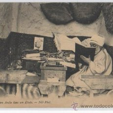 Postales: TARJETA POSTAL NOTAIRE ARABE DANS SON ETUDE AFRICA ESPAÑOLA ND PHOT FOLKLORE ARABES COSTUMBRISTA. Lote 13648868