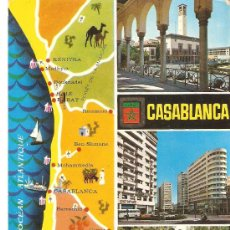 Postales: POSTAL CASABLANCA.VARIAS VISTAS.CIRCULADA 1968.ESCUDO DE ORO.. Lote 27428281