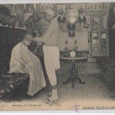 Postales: TARJETA POSTAL BOUTIQUE DE PERRUQUIER BARBERO BARBERIA AFRICA ESPAÑOLA ARABES FOLKLORE ARABE. Lote 25718186