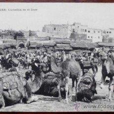 Postales: ANTIGUA FOTO POSTAL DE TANGER - MARRUECOS - CAMELLOS EN EL ZOCO - GUERRA DEL RIF - ED. M.B. SEVILLA. Lote 20976138