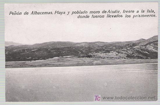 PEÑÓN DE ALHUCEMAS.- PLAYA Y POBLADO MORO DE AIXDIR. (Postales - Postales Temáticas - Ex Colonias y Protectorado Español)