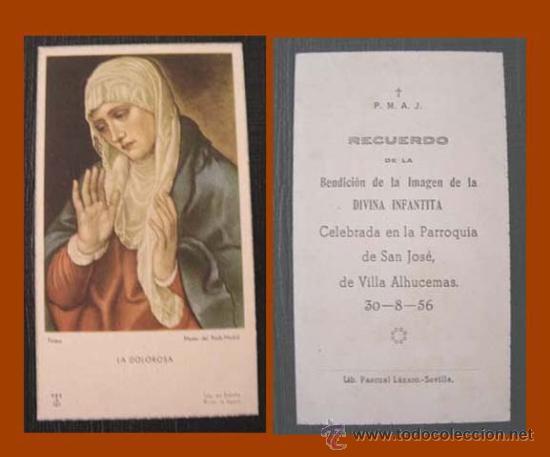 RECORDATORIO DIVINA INFANTITA / VILLA SANJURJO - ALHUCEMAS 1956 (Postales - Postales Temáticas - Ex Colonias y Protectorado Español)