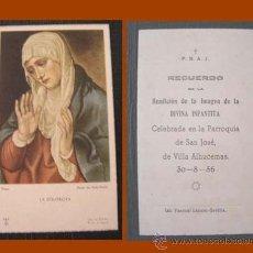 Postales: RECORDATORIO DIVINA INFANTITA / VILLA SANJURJO - ALHUCEMAS 1956. Lote 27546321