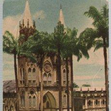 Cartes Postales: PROVINCIA DE FERNANDO PÓO.- PLAZA DE ESPAÑA Y CATEDRAL DE SANTA ISABEL.. Lote 23276346