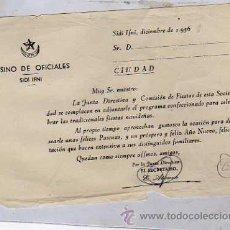 Postales: DOCUMENTO DEL CASINO DE OFICIALES. SIDI IFNI. 1956. 16 X 11 CM. . Lote 31168718