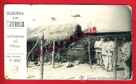 POSTAL GUERRA DE MARRUECOS , FOTOGRAFICA , LA CIGUEÑAS DEL T ZENIS , ORIGINAL, P70992 (Postales - Postales Temáticas - Ex Colonias y Protectorado Español)