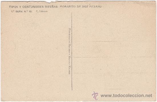 Postales: TIPOS Y COSTUMBRES RIFEÑAS: MORABITO DE SIDÍ MESAND.- FOTOTIPIA HAUSER Y MENET, 1º SERIE, Nº 10. - Foto 2 - 34865607