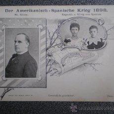 Postales: POSTAL AÑO 1898 GUERRA DE CUBA CONTRA ESTADOS UNIDOS REYES Y PRESIDENTE USA . Lote 35362623