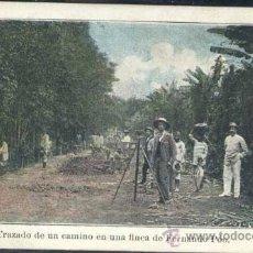 Postales: TRAZADO DE UN CAMINO EN UNA FINCA DE FERNANDO POO. Lote 35630197