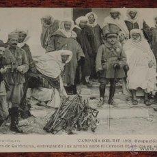 Postales: ANTIGUA POSTAL DE LA CAMPAÑA DEL RIF - 1921 - OCUPACION DEL ZAIO - LOS JEFES DE QUEBDANA, ENTREGAND. Lote 39443928