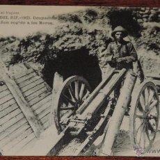 Postales: ANTIGUA POSTAL DE LA CAMPAÑA DEL RIF - 1921 - OCUPACION DEL GURUGU - CAÑON COGIDO A LOS MOROS -SERIE. Lote 39444064