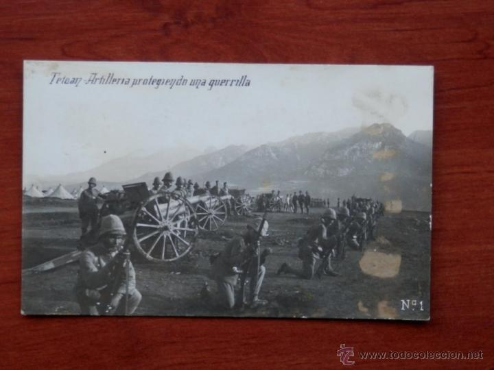 TETUAN ARTILLERÍA PROTEGIENDO UNA GUERRILLA POSTAL ANTIGUA (Postales - Postales Temáticas - Ex Colonias y Protectorado Español)