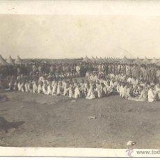 Postales: PS0024 1912 ALFONSO XIII - CAMPAÑA DE MARRUECOS - BANQUETE CAMPAMENTO DEL ZOCO EL ARBA - FOTOGRÁFICA. Lote 41379993