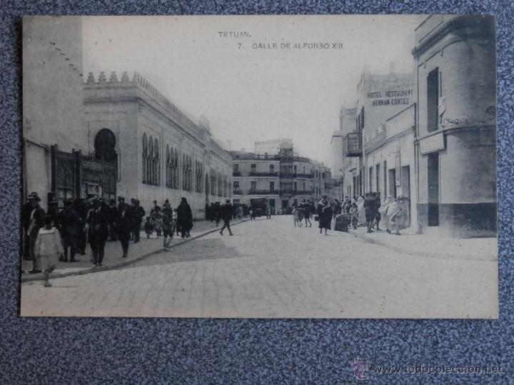 TETUAN CALLE DE ALFONSO XIII POSTAL ANTIGUA (Postales - Postales Temáticas - Ex Colonias y Protectorado Español)