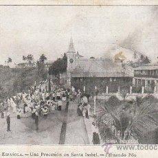 Postales: GUINEA ESPAÑOLA, UNA PROCESIÓN EN SANTA ISABEL, SERIE B Nº 2, DE RAYADO CONTINUO. Lote 41809835