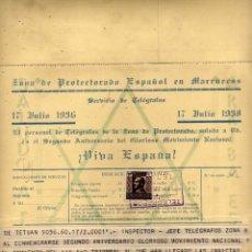 Postales: ZONA PROTECTORADO ESPAÑOL EN MARRUECOS. 1938 TELEGRAMA. PERSONAL DE TELÉGRAFOS. SELLO PROTECTORADO. Lote 42154454