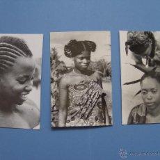 Postales: LOTE DE 3 TARJETAS POSTALES (1960'S) GUINEA (BATA) (PEINADOS) ¡SIN CIRCULAR! ¡ORIGINALES!. Lote 50288290