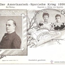 Postales: GUERRA DE CUBA ALFONSO XIII Y MC. KINLEY KRIEG DER AMERKANISCH SPANISCHE KRIEG 1898. Lote 50340280