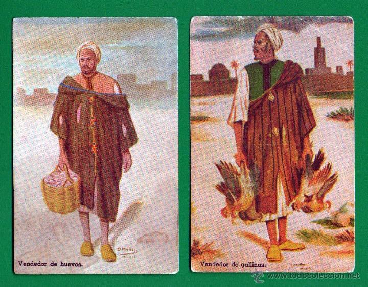 LOTE DE 2 POSTALES SIN CIRCULAR: VENDEDOR DE HUEVOS Y VENDEDOR DE GALLINAS - MULLOR-BOIX, MELILLA (Postales - Postales Temáticas - Ex Colonias y Protectorado Español)