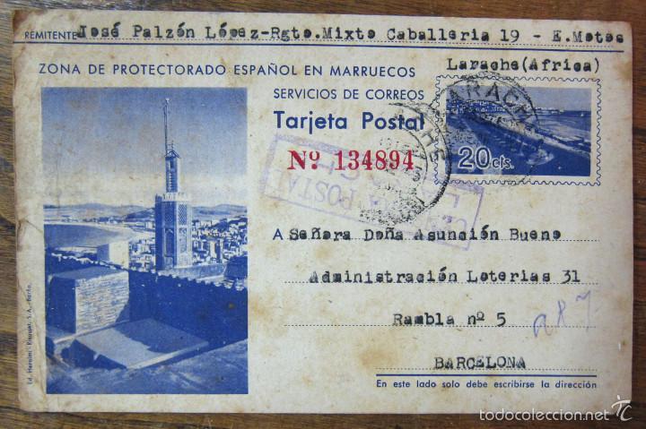 ENTERO TARJETA POSTAL CORREOS PROTECTORADO ESPAÑOL MARRUECOS - 1943 - LARACHE, RGTO MIXTO CABALLERIA (Postales - Postales Temáticas - Ex Colonias y Protectorado Español)