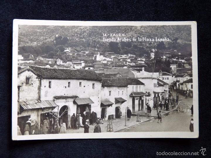 TARJETA POSTAL XAUEN (MARRUECOS). TIENDAS ARABES DE LA PLAZA ESPAÑA. PAPELERÍA -LA ESPAÑOLA-. AÑOS 2 (Postales - Postales Temáticas - Ex Colonias y Protectorado Español)