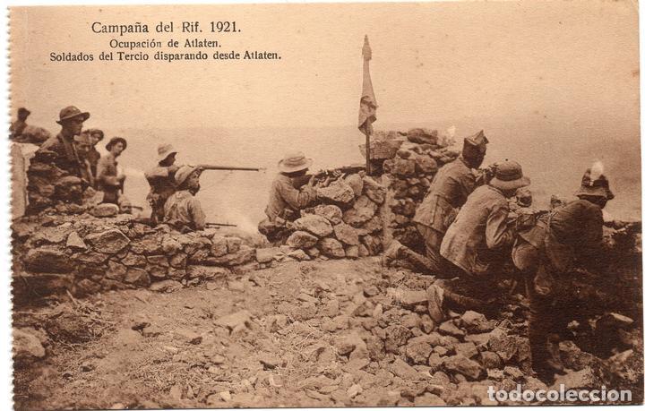 PS7248 CAMPAÑA DEL RIF 'SOLDADOS DEL TERCIO DISPARANDO DESDE ATLATEN'. SIN CIRCULAR. 1921 (Postales - Postales Temáticas - Ex Colonias y Protectorado Español)