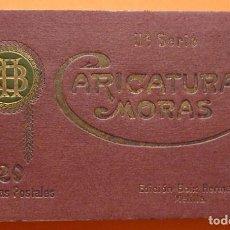 Postales: ALBUM DE 20 POSTALES CARICATURAS MORAS, IIª SERIE - ED. BOIX HERMANOS (MELILLA) - COMPLETO Y NUEVO. Lote 90637915