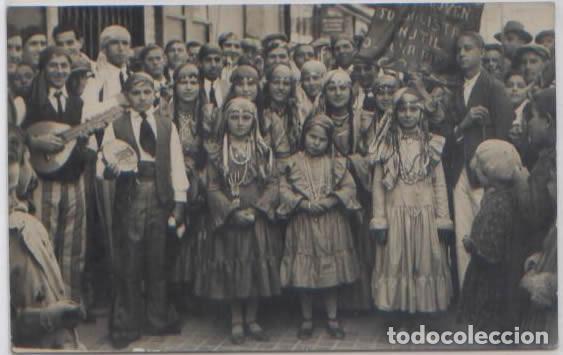 POSTAL FOTOGRAFICA GRUPO NIÑAS BAILE ? CORAL ? TRAJES TIPICOS BANDERA MARRUECOS ESPAÑOL AÑOS 30 (Postales - Postales Temáticas - Ex Colonias y Protectorado Español)