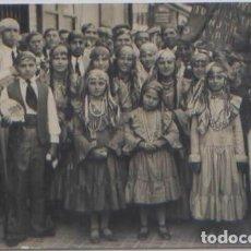 Postales: POSTAL FOTOGRAFICA GRUPO NIÑAS BAILE ? CORAL ? TRAJES TIPICOS BANDERA MARRUECOS ESPAÑOL AÑOS 30. Lote 90824510