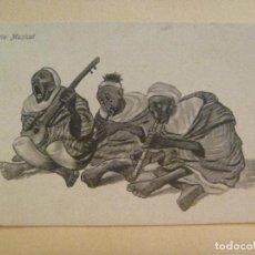 Postales: GUERRA DE AFRICA : POSTAL HUMORISTICA DE MOROS , TRIO MUSICAL . MELILLA. Lote 98131047