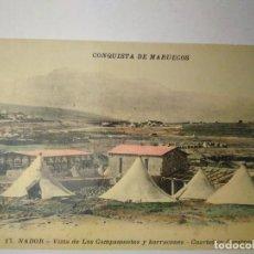 Postales: CONQUISTA DE MARRUECOS. VISTA DE LOS CAMPAMENTOS Y BARRACONES. CUARTEL EN CONSTRUCCIÓN. Lote 100414447