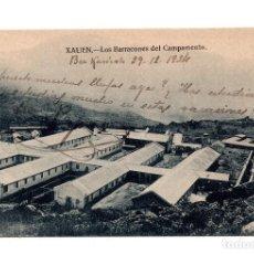 Postales: CAMPAÑA DEL RIF - XAUEN (MARRUECOS).- LOS BARRACONES DEL CAMPAMENTO. SELLO REG.DRAGONES NUMANCIA.. Lote 103795611