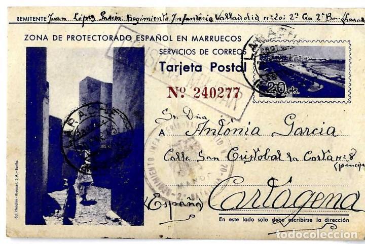 ENTERO POSTAL CENSURA COLONIAS PRECIOSA TARJETA POSTAL CIRCULADA LARACHE-CARTAGENA 1943 (Postales - Postales Temáticas - Ex Colonias y Protectorado Español)