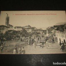 Postales: XAUEN CHEFCHAUEN MARRUECO ESPAÑOL ASPECTO DE LA PLAZA PRINCIPAL UTA EL HAMMAN. Lote 110195779