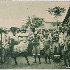 Postales: GUINEA CONTINENTAL- EXPOSICION IBERO-AMERICANA, SEVILLA-1929- ESÁMBIRAS EN SU BAILE TÍPICO. Lote 112967491