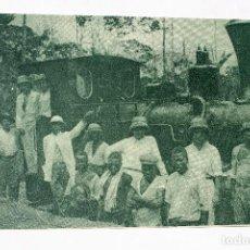 Postales: GUINEA CONTINENTAL- EXPOSICION IBERO-AMERICANA, SEVILLA-1929- LOCOMOTORA Y PERSONAL FERROVIARIO. Lote 112987963