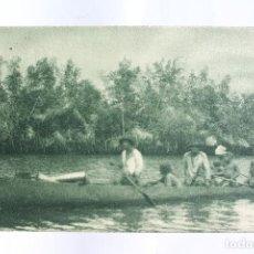 Postales: GUINEA CONTINENTAL- EXPOSICION IBERO-AMERICANA, SEVILLA-1929- UN CAYUCO EN EL RIO KYE.. Lote 113238803
