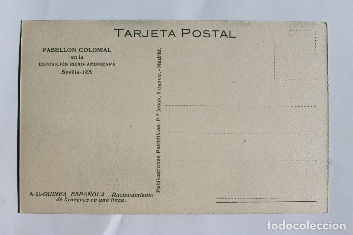 Postales: GUINEA CONTINENTAL- EXPOSICION IBERO-AMERICANA, SEVILLA-1929- RACIONAMIENTO DE BRACEROS EN UNA FINCA - Foto 2 - 113244847