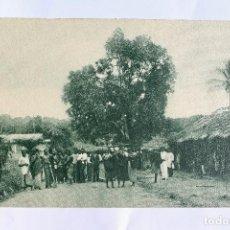 Postales: GUINEA CONTINENTAL- EXPOSICION IBERO-AMERICANA, SEVILLA-1929- POBLADO DE ASSOBLA.. Lote 113247599