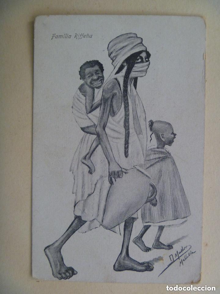 GUERRA DE AFRICA : POSTAL HUMORISTICA DE FAMILIA RIFEÑA. MELILLA , PRINCIPIOS DE SIGLO. (Postales - Postales Temáticas - Ex Colonias y Protectorado Español)