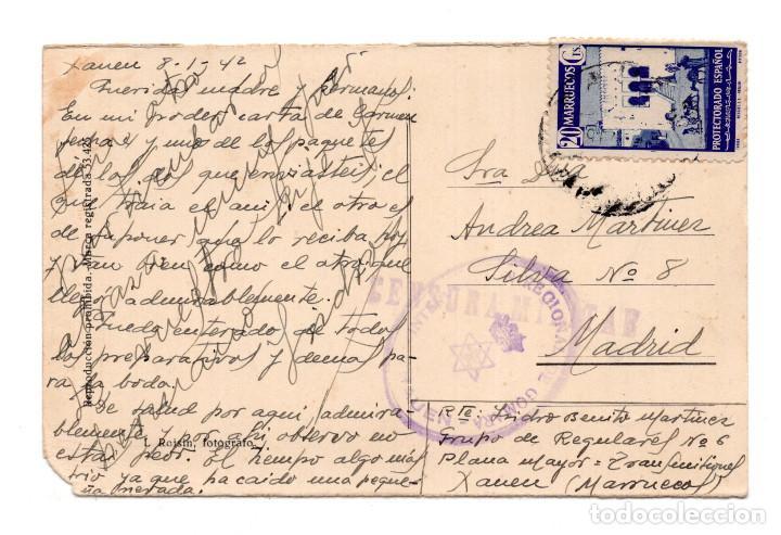 Postales: Una calle de Tetuan. Marca de Censura y Franquicia Intervención Regional de Gomara-Xauen - Foto 2 - 115519775