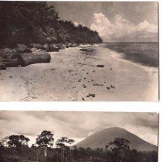 Postales: GUINEA ESPAÑOLA. PAISAJE TÍPICO Y PLAYA DE CORISCO FOTO CALIFORNIA 204 Y 223. PERFECTO ESTADO 1958. Lote 119149279