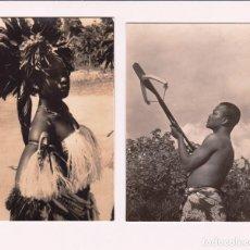 Postales: GUINEA ESPAÑOLA. BAILARINA DE OXILA Y TIPO INDÍGENA FOTO CALIFORNIA 115 Y 128. PERFECTO ESTADO 1958. Lote 119149483