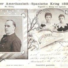 Postales: GUERRA DE CUBA ALFONSO XIII Y MC. KINLEY KRIEG DER AMERKANISCH SPANISCHE KRIEG 1898. Lote 136492130