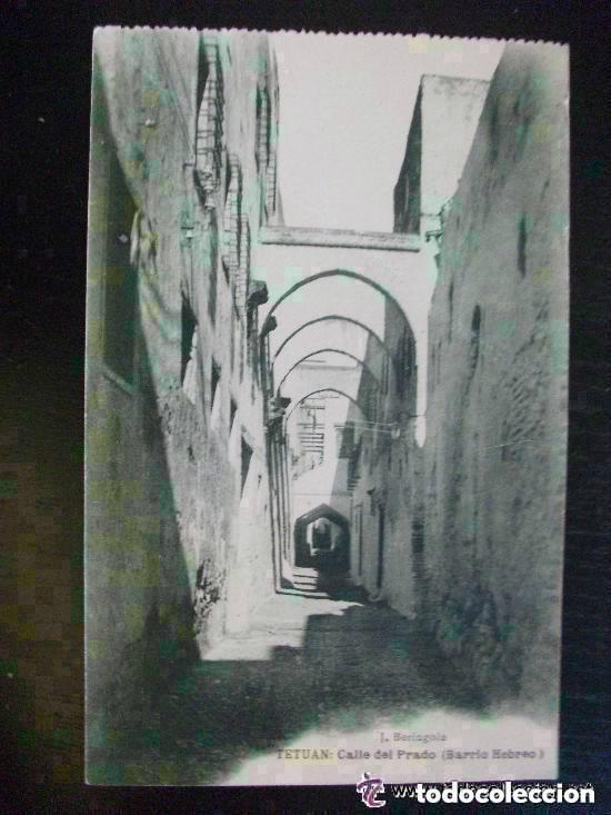 POSTAL DE TETUAN : CALLE DEL PRADO ( BARRIO HEBREO ). ESCRITA EN 1922. (Postales - Postales Temáticas - Ex Colonias y Protectorado Español)