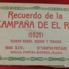 Postales: BLOCK RECUERDO DE LA CAMPAÑA DE EL RIF 1921 TAURIAT - HAMED, KADDUR Y TAXARUD SERIE XIV. Lote 166601650