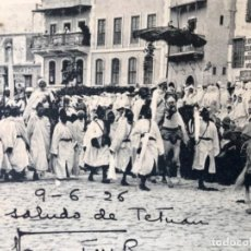 Postales: TETUÁN MARRUECOS AFRICA GUERRA IFNI PASCUA MORA SÉQUITO DEL JALIFA HALIFA POSTAL JEFE DE L TAMBOR . Lote 166716842